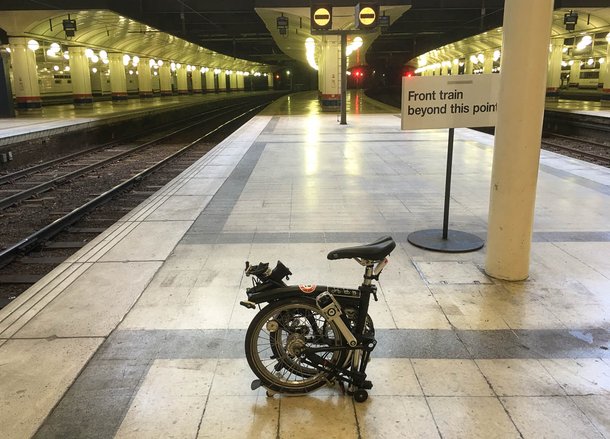 Brompton bike on a train